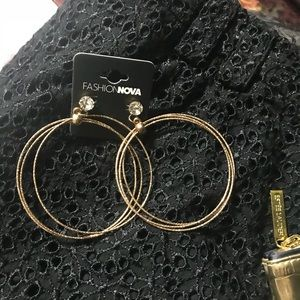 ~HP~ Fashion Nova round rhinestone hoop earrings